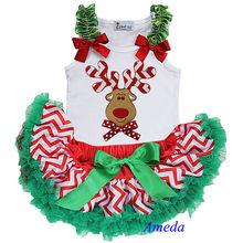 Christmas Red White Chevron Green Ruffles Pettiskirt Plus Reindeer White Tank Top NB-6M