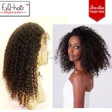 Factory supplier ,16 inch ,young fashion 100 brazilian virgin natural kinky curl hair wig