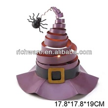 Hot sale metal halloween witch hat candle holder