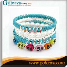 Beautiful style wrap bangle skull and fake pearl bracelet wholesale