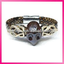 Snake skin leather stone skull bracelet with magnetic buckle