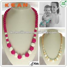 Wholesale Nursing Necklace/Food-safe Trendy Mom Breastfeeding Baby Sensory Silicone Teething Hawaiian Bead Jewelry