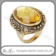 Topaz gemstone 316L ring fashion insider wood ring