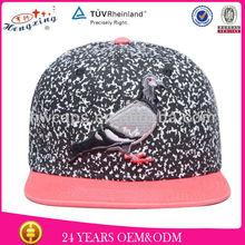 Printing fabric bird logo snapback cap flat brim sport cap for girls