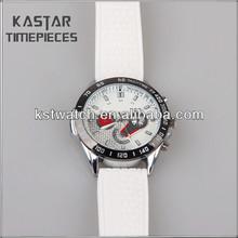 White quartz analog mens silicone watches for promotion