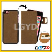 Fashionable Flannelette Horizontal flip leather Case for iPhone 5C+ Detachable Plastic Case with Credit Card Slots
