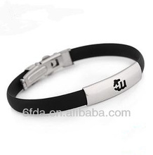 Stainless steel cabel silicone fashion bracelet men