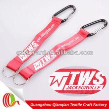 silk screen printing logo key strap,custom carabiner lanyard strap keyring