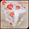 high quality royal crown design ring hollow orange stone silver ring