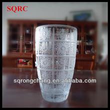 "11""tall huge hand cut clear glass flower vase"
