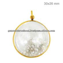 Colgante de Cristal Con Diamantes Incrustados Colgantes en Oro Amarillo 14k y Plata Esterlina 925 Venta de Joyeria con Diamantes