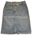 Diseño casual de la marca de moda los pantalones vaqueros de mezclilla falda ktj-016