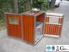 Stainless steel rubbish bin, solid wood sidewall trash can