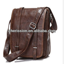 Dark brown leather messenger bags for men