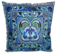 Cushion Cover HMONG Hill Tribe Thailand FAIR Trade Handmade Blue Birds