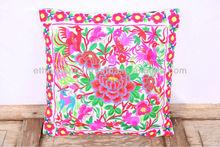 White Rabbit Flower Garden Hmong Hill Tribe Cushion Cover Fair Trade Thailand