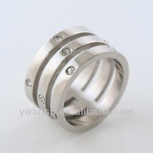fashion crystal setting three layers stainless steel ring