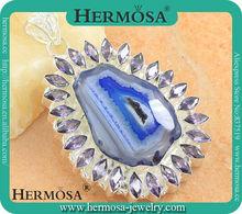 Hole Blue Drusy Druzy Agate Amethyst Pendant Silver Pendant Neckalce Pendant 15