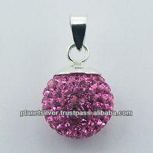 Hallmarked 925 Silver Crystal Pendant Pink Sparkling Ball