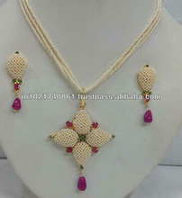 india hyderabad pearl emerald /ruby necklace set