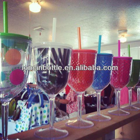16oz Double Wall Insulated Plastic Wine Glass Tumbler Double Wall Acrylic Tumbler Bpa Free