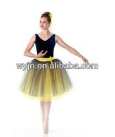 2015 dance costume-soft yellow classic long tutu-blue velvet concert performance costumes