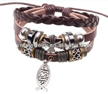 MOQ 10DZ Free Shipping by Express brown braided leather fish charm alloy beads lucky bracelet women costume jewelry
