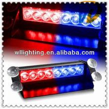 3 Flash Mode Car 8 LED Police Emergency Vehicle Dash Strobe Flash Red/Blue Light -Wllighting