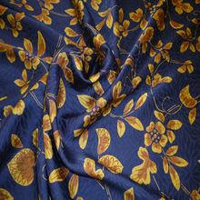 pattern silk of arabesque print chrysanthemum badger for navy print fabric
