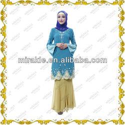 MF20753 high quality chiffon design baju kurung with embroidery