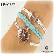 HOT SALE Low Price Elegant Women Anchor Nautical Bracelet Ships Wheel Sky Blue Suede Bracelet Jewelry Wholesale