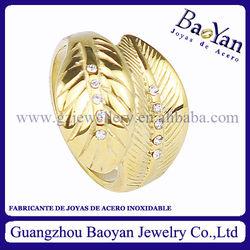 anillo oro de joyeria de acero de forma hoja,al por mayor