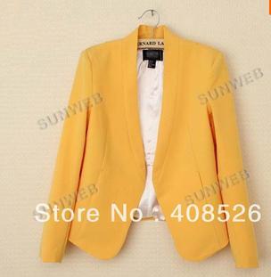 2013 Women's slim Trendy Candy Color Without Button Slim Suit Blazer Coat Jacket 4 Colors S, ...