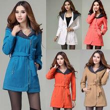 2013 Women's Fashion Girl Slim Winter Hoodie Woolen Coat Jacket Outwear Overcoat 5 Colors With belt 9468