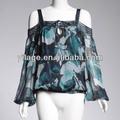 de mujer de primavera chic floral de impresión del hombro blusa de manga larga l1343