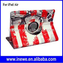 Retro Stripe Patterns Rotate PU Leather Case for iPad Air