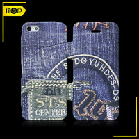 Jeans design simple style pu leather case for iphone 5/ iphone 5c