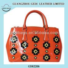 Korea wholesale handbag with small flower Cute Patent tote bag