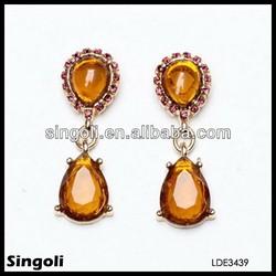double teardrop smokey quartz crystal drop earrings