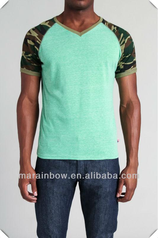fashion slim fit raglan short sleeve V neck camo sublimation printing tee