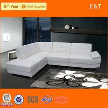 elegant sectional genuine leather home furniture corner white sofa set