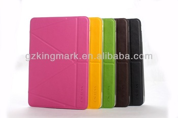 For ipad Case foldable stand leather case transformer Leather Smart Cover, for ipad mini case