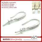 XD E042 925 Sterling Silver and CZ Stone Earrings Hook Findings