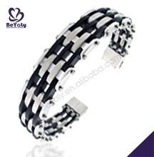 Black and white tone chic woven design male titanium bow bracelets