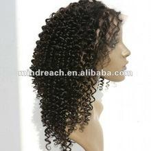 Beauty jerry curl 16'' 1b# 100% Brazilian virgin human hair full lace wig in stock