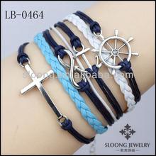 Friendship Value Cheish Memorry Nautical bracelet Cross, Anchor , Infinity and Steering wheel treasure up Bracelet Wholesale