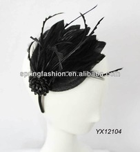 Sinamay hair fascinator covering with feathers and trimming with one brooch