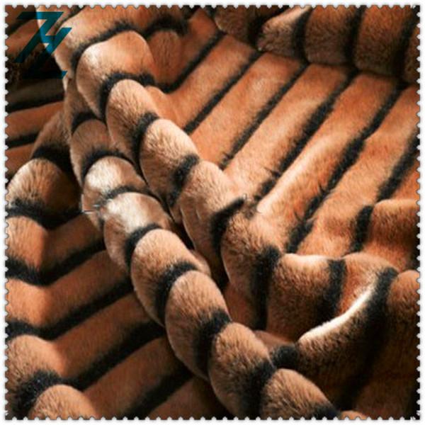 fake wolf fur fabric/fake fur cat fabric/two-tone fake fur fabric