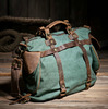 Women vintage retro canvas leather weekend shoulder bag Duffle Travel tote bag