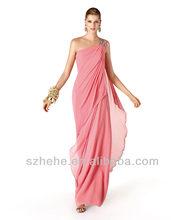 Free shipping CW908 Column one shoulder chiffon design long evening dresses made in china